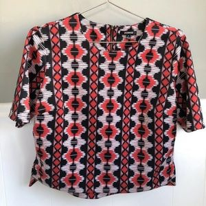 Premise Tops - Premise scuba knit Red Ikat Short Sleeve Top S